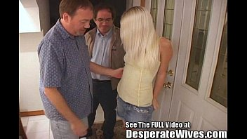 Thin blonde wife pimped out by hubby