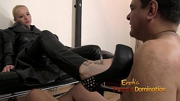 Leather masked slave gets dick humiliated
