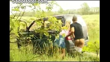 Hot blonde hitchhiker d by car driver