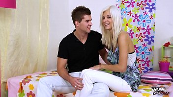 Hot blonde ride stepbrothers cock in her bed when he come to visit her