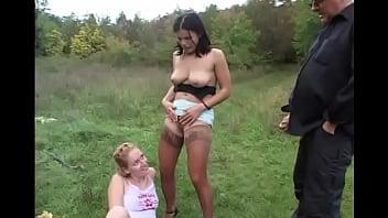 Outdoor lesbians show where sluts piss
