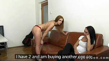 Fake agent fucking two hot amateurs on couch