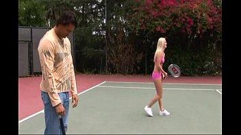 Horny sluts banged on tennis court