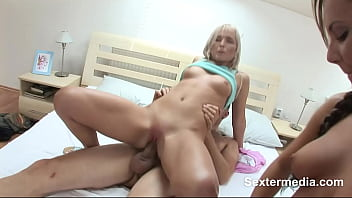Blonde chick sucking his shaft