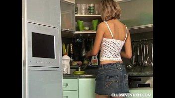 Teen lesbians dildo twats in kitchen