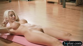 Nude women doing yoga