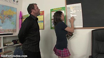 Slutty schoolgirl fucking 2 teachers after class!