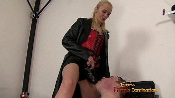Hot and sexy mistress plays with her lesbian slave