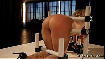 Restrained blonde sasha knox gets great ass flogged by mistress missog..