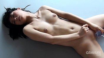 Idol Reika Yamada shaved pussy dildo masturbation
