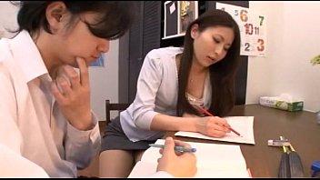 Japanese tutor giving blowjob