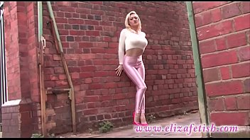 Skin tight pink leggings, designer pink high heels, out in birmingham