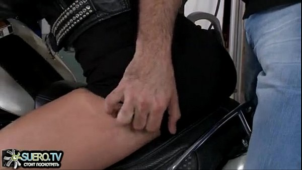 Girl in leather jacket fucked on the bike...