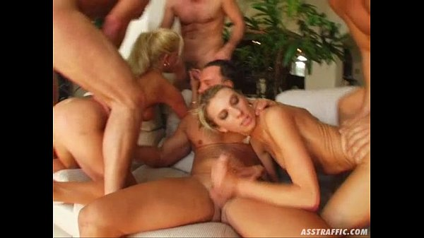 Ass Traffic Four guys double penetrate two b...