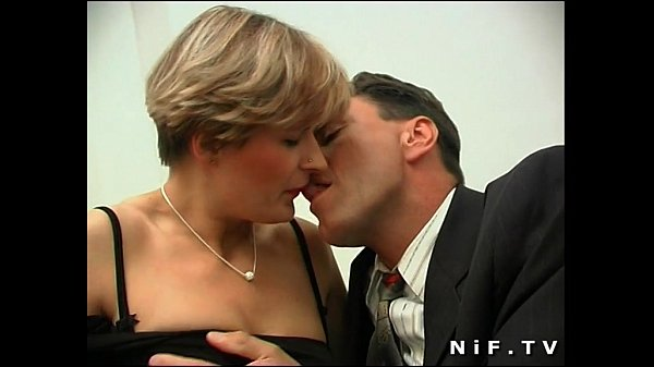 Short haired french milf in stockings gets h...