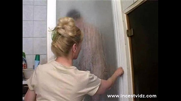 Mature mom and her son on the shower...