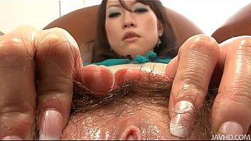 Ryo kaede plays with her pussy in black fishnet panties befo 8