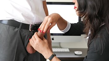 Stockings handjob video Office