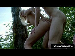 Blonde teen gets fucked outdoors