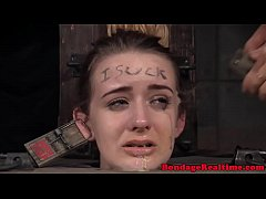 Young hogtied sub whipped while mouth gagged