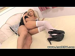 Donna Bell drools on cock before anal fuck