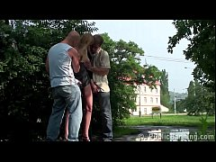 Public street cum on a cute woman face by 2 guys in gang bang threesome orgy