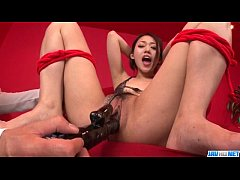 An Yabuki screams with toys in her vag and cock...