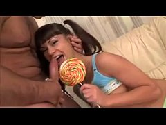 pigtails teen licks lollipop and cock name