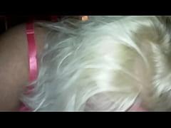 blond bbw slut sucks cock deepthroat in pink