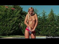 Cute Teen Lova By The Pool