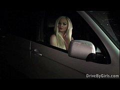 Gorgeous blonde girl PUBLIC sex gangbang orgy in a car