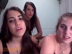 Three college teen friends stripping naked on c...