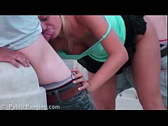 Extreme public street sex threesome with blonde...