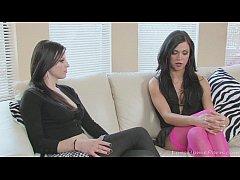 Brunette lesbians in stockings pleasure each ot...