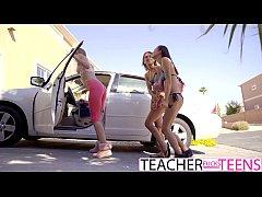 Lesbian Teacher Seduces Teen Students In Threeway