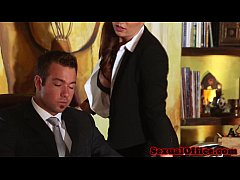 Classy redhead officebabe banged by the boss