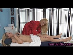Cute blonde gives a hot pussy massage