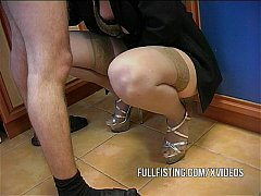 Hot Bitch Gets Fisted And Ass-Fucked In The Kit...
