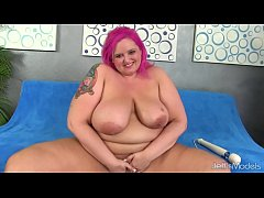 Big boobed fatty uses sex toys
