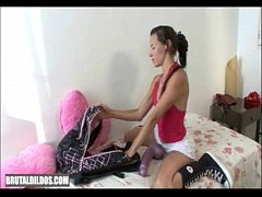 Val empties her bag of brutal dildos and stretc...