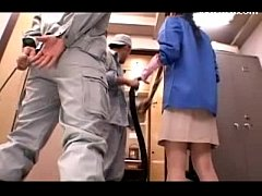 Cleaning Lady Having Orgasm Getting Her Pussy Nipples Stimulated With Vacum Cleaner By 2 Guys In The