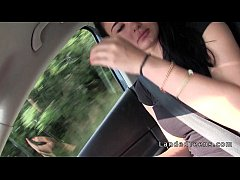Stranded teen giving handjob in the car while driving