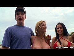 Pornstars pick up guys at the beach