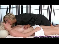 Lesbian babes rub and lick