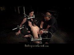 Bondage ropes ruined teen slave pussy immobiliz...