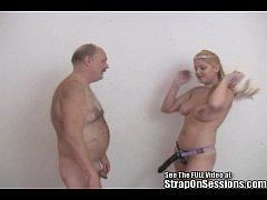 Old man pegged by big titty femdom