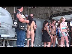 hot naked biker chicks getting ready to have a wet tshirt contest
