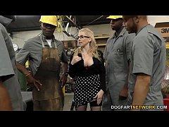 Busty blonde Christie Stevens gets anal from bi...