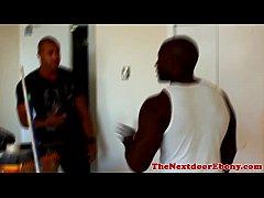 Ebony jock sucked before pounding ass