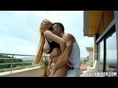 Exotic Babe Sucks Him off on the balcony
